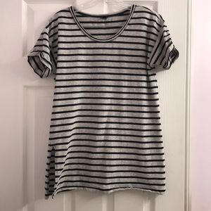 J. Crew Gray & White Striped Shirt Size S
